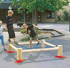 Balance beam for playground -Beam and Slack lines. Cool!