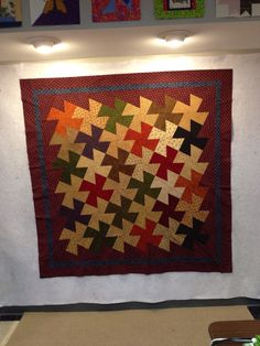 Joyce's quilt Twister  hand quilted by Amy Beck