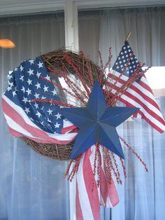 July 4th wreath  valthecraftygal.blogspot.com
