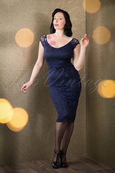 De Milo Pencil Dress in Navy Lace Black Pencil Dress, Navy Lace, Black Laces, Retro Vintage, Shoulder Dress, Formal Dresses, Elegant, Model, Fashion