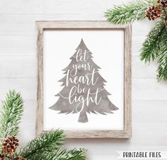 Printable Christmas Signs Let your heart be light Holiday | Etsy