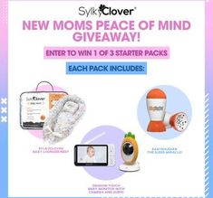 Limited time offer. Join before it's too late! $175 value! Share it with friends via email or social media to get more entries! Enter to win 1 of 3 new mom packs, each one includes: SylkyClover Baby Lounger Nest. Dragon Touch Baby Monitor with Camera and Audio. BabyShusher, the Sleep Miracle!