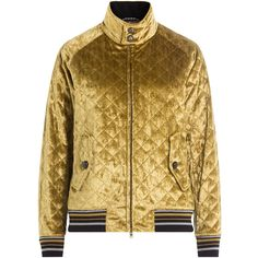 Maison Margiela Quilted Velvet Bomber Jacket (24.366.635 IDR) ❤ liked on Polyvore featuring outerwear, jackets, gold, brown quilted jacket, quilted jacket, high neck jacket, velvet bomber jacket and pocket jacket