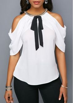 Stylish Tops For Girls, Trendy Tops, Trendy Fashion Tops, Trendy Tops For Women Page 6 Stylish Tops For Girls, Trendy Tops For Women, Blouses For Women, Mode Outfits, Fashion Outfits, Fashion Blouses, Ladies Fashion, Cold Shoulder Blouse, Blouse Online