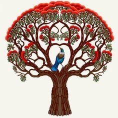 Tui bird in a Pohutakawa tree Nz Art, Art For Art Sake, Tui Bird, Zealand Tattoo, Maori Designs, New Zealand Art, Maori Art, Kiwiana, Bird Illustration