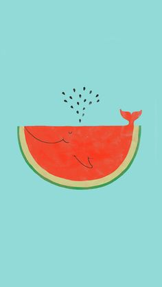 Watermelon Whale Flat Illustration iPhone 5 Wallpaper