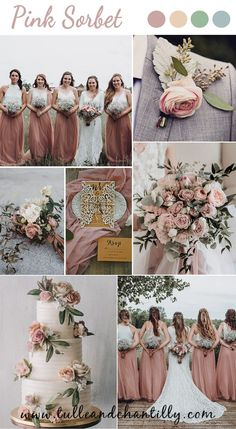 Wedding color inspiration with combo ideas on bridesmaid dresses in pink sorbet Wine Bridesmaid Dresses, Bridesmaid Flowers, Brides And Bridesmaids, Rustic Wedding Colors, Fall Wedding Colors, Wedding Trends, Wedding Ideas, Sorbet, Color Inspiration