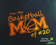 BASKETBALL MOM personalized in cursive, shiny foil t-shirt with your choice of color-- Regular Unisex or Ladies' Fitted Fitted tee