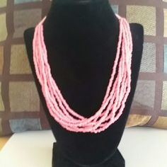 """Baby pink beaded layer necklace Adjustable pink beaded layered statement necklace. 21"""" length with gold plated chain and lobster clasp. Jewelry Necklaces"""