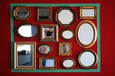 [ vintage mirror collection + great idea for arranging them before hanging ]