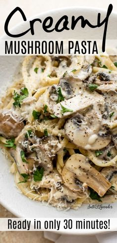 This creamy mushroom pasta recipe is an easy weeknight meal that's ready in only 30 minutes. It's the best Meatless Monday dish, and you will love the bright and zesty lemon garlic cream sauce! Dinner With Mushrooms, Creamy Mushrooms, Stuffed Mushrooms, Healthy Pasta Dishes, Creamy Pasta Recipes, Vegetarian Recipes Dinner, Veggie Recipes, Easy Mushroom Recipes, Pork Recipes