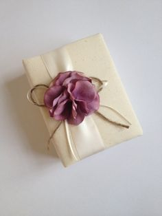 Rustic Radiant Orchid Wedding Photo Album - Radiant Orchid Purple Hydrangeas, Ivory Ribbon, Rustic Ivory Ribbon and Rope Bow - by Couture Life