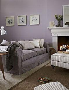 LOVE LOVE LOVE!!!!Cool Lilac & Grey Living Room