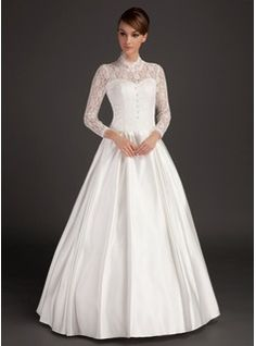 A-Line/Princess High Neck Floor-Length Satin Lace Wedding Dress (002015488) - JJsHouse