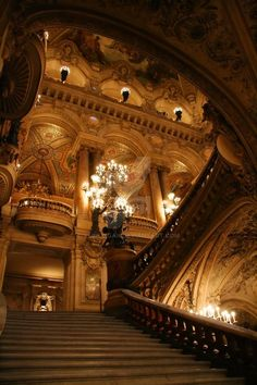 Paris Opera House Staircase by vmulligan on DeviantArt Baroque Architecture, Beautiful Architecture, Paris Opera House, Foto Fantasy, House Staircase, Staircases, Stairs, Aesthetic Wallpapers, Hogwarts