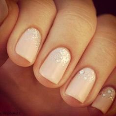 Lovely idea for bridal nails. Source: glitter gradient nails by Katy Parsons of Nailed It!
