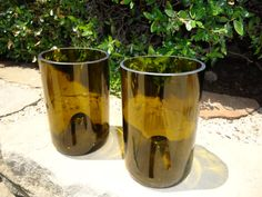 Short Glass Tumblers made from Upcycled / Recycled Wine bottles!  So cool!  made by ConversationGlass, $18.00 for a set of 2
