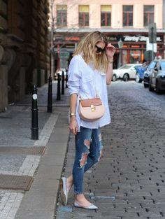 Studded Flats and Stripe Shirt