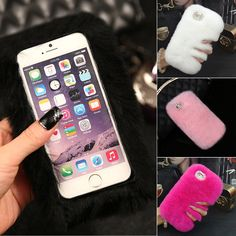 Cell Phone Cases For iPhone 7 Fur Diamond Bling Winter Warm Luxury Soft Sexy Girl Boy Case Back Protective Cover