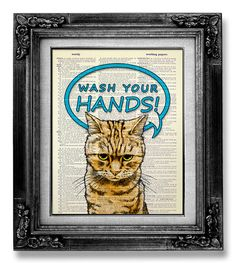 Kids Wall Art Print, BATHROOM Art Kid Gift Idea, Cool Funny Cat Poster Artwork, Cute OFFICE Decor, Wash Your HANDS Art, Bathroom Sign Art