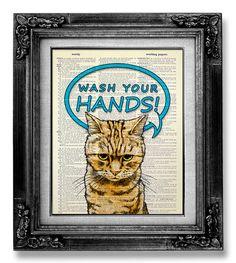 WASH Your Hands  Gift for KID BATHROOM Decor Boy by GoGoBookart, $10.00