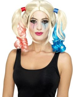 Perruque Harley Quinn blonde à couettes femme