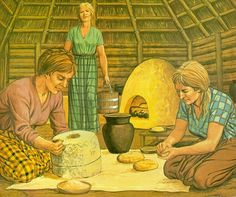 Celtic Women at work, grinding wheat and kneading dough. Artwork by Peter Connolly.