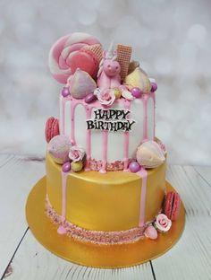 Fantastic pink and gold colour drip cake with a cute little unicorn. #dripcake #unicorndripcake