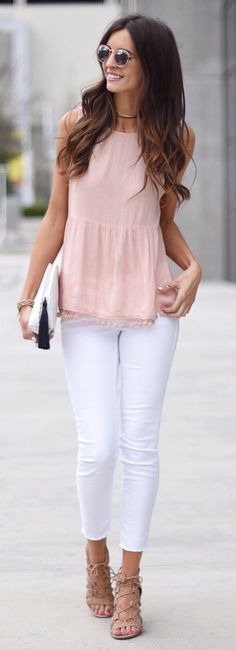 #spring #fashionPink Top & White Skinny Jeans & Beige Laced Up Sandals
