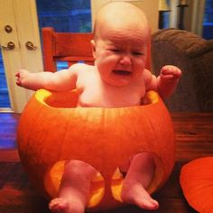 Baby-in-a-pumpkin is now a Halloween tradition. #pinterestail