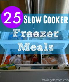 Spend a couple hours preparing dinner for 25 days! Get 25 slow cooker freezer meals!