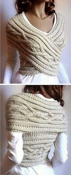 This Knitted Sweater Cowl Vest is stylish, beautiful, and sexy. I love this idea of wearing cable knitted cowl into a chic sweater vest. Perfect for cold. Fashion Tips For Women, Diy Fashion, Fashion Ideas, Fashion Sewing, Fashion Clothes, Fashion Beauty, Cheap Fashion, Making Shirts, Wrap Sweater