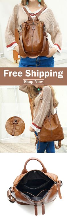 606f00839e94 Women Solid Travel Leisure Soft Leather Multi-function Backpack Large  Capacity Shoulder Bag