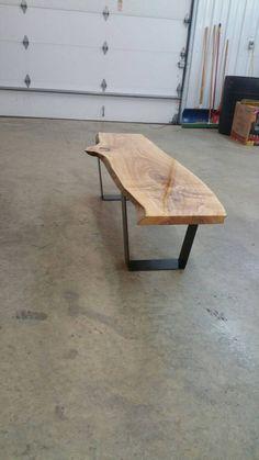 Ash live edge coffee table/ bench farmhouse live edge welding welded handmade rustic patina slab bench coffee table ash