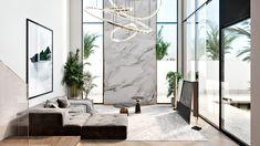 Villas on Behance Luxury Kitchen Design, Kitchen Room Design, Home Decor Kitchen, Home Interior Design, Interior Architecture, Interior And Exterior, Villa, Small Modern Home, Apartment Interior