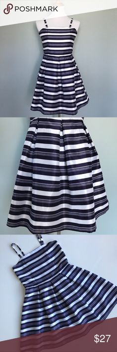 """🌿ABS Girls Dressy Sundress Perfect for Spring, this girls dressy sundress is in excellent condition; worn only a couple of times. Navy/white stripe, the 100% polyester fabric has a beautiful sheen. Fully lined, excellent structure with pleated skirt and back zipper.  •14.75"""" Bust.   •14"""" Waist.   •27""""Length, dress body(not including the straps) ABS Kids Dresses"""