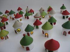 DIY christmas village from toilet paper rolls  #Cardboard, #Christmas, #ToiletPaperRoll
