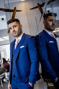 Check our wedding suit in nice egyptian blue color. Combination with coral tie and white pocket square is really great. Ideal solution for spring 2020 weddings. Fashion Suits, Mens Fashion, White Pocket Square, Coral Tie, Suit Vest, 3 Piece Suits, Mode Masculine, Real Man, Mens Suits