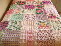 Bold and Beautiful Patchwork Flower Garden Vintage Chenille Quilt by surelychenille
