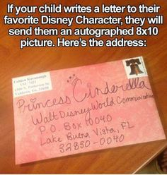 If your child writes a letter to their favorite Disney character, the character will reply with an autographed photo of themselves! The address is Walt Disney World Communications, P. Disney Fun, Disney Trips, Disney Facts, Diy Disney Gifts, Disney Moms, Disneyland Hacks, Disneyland Secrets, Punk Disney, Kids And Parenting