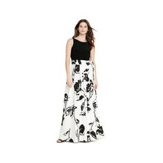 Ralph Lauren Lauren Floral-Print V-Back Gown ($280) ❤ liked on Polyvore featuring dresses, gowns, white sleeveless dress, fit and flare dress, ralph lauren gowns, floral print evening gown and white jersey
