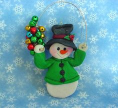 Polymer Clay Milestone/Christmas Ornament  Cake Topper Snowman Advent w Bellls