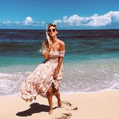 Seaside wanders with @the_salty_blonde in the Boheme Goddess Maxi in Musk  #augustethelabel #shelivesfree