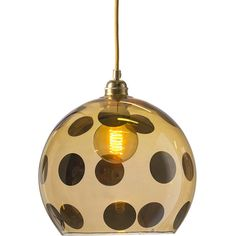 Ebb & Flow Rowan Pendant Lamp - Gold Dots - 28cm (505 CAD) ❤ liked on Polyvore featuring home, lighting, ceiling lights, metallic, contemporary lighting, gold pendant light, contemporary modern lighting, contemporary lamps and gold pendant lamp