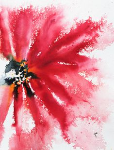 Red Crimson Abstract Floral Watercolor. I was reading a blog post by one of my favorite artist bloggers, Debi Riley, where she discussed a technique where she starts her watercolor painting with wh…