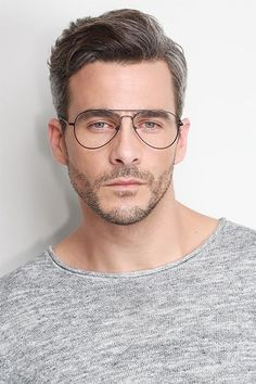 Black aviator eyeglasses available in variety of colors to match any outfit. These stylish full-rim, large sized metal eyeglasses include free single-vision prescription lenses, a case and a cleaning cloth. Latest Beard Styles, Round Face Men, Circle Face, Beard Model, Hair System, Aviator Glasses, Haircuts For Men, Short Hair Cuts, Hair And Beauty