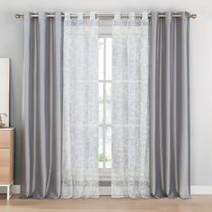 Charlton Home Wescott 4 Piece Curtain Panel Set Color: Gray Curtains For Grey Walls, Home Curtains, Curtains Living, Living Room Windows, Curtains With Blinds, New Living Room, My New Room, Panel Curtains, Living Room Decor