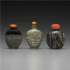 THREE HARDSTONE BOTTLES