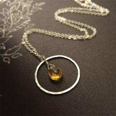 Beer Quartz and Hammered Silver Circle Necklace
