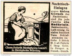 Original-Werbung/Anzeige 1913 - NACHTTISCH- EINLAGEN GEGEN ÜBLEN GERUCH / CHEM. FABRIK BIETIGHEIM - ca. 55 x 45  mm